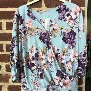 Blue Floral Mock Wrap Shirt